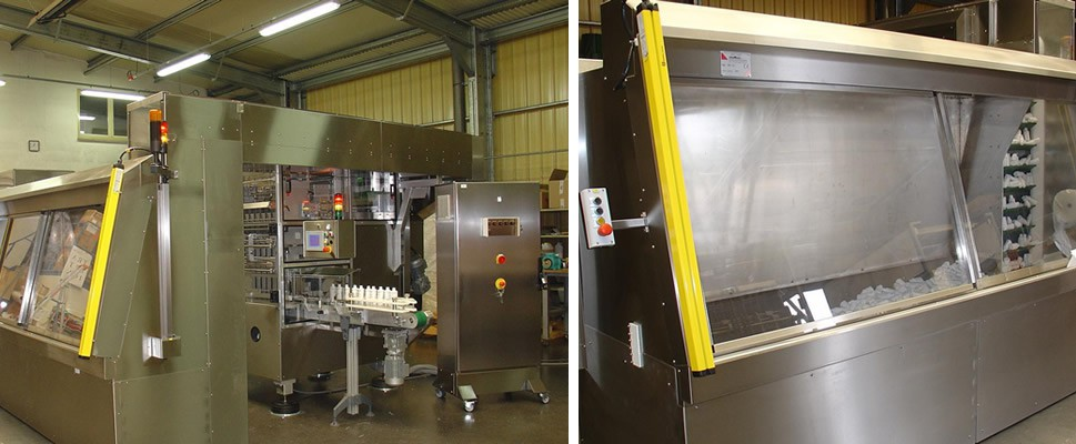 Machine in a Pharmaceutical environment with a secure hopper feed located outside the enclosure